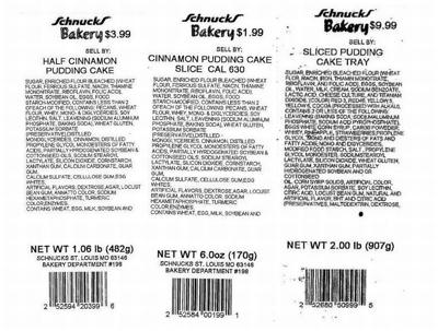 Schnucks Bakery Issues Allergy Alert On Undeclared Walnuts In Cinnamon Pudding Half Cakes And Cake Slices