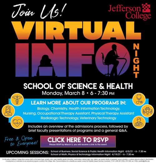 Jefferson College to hold online info night on health-related degrees, programs