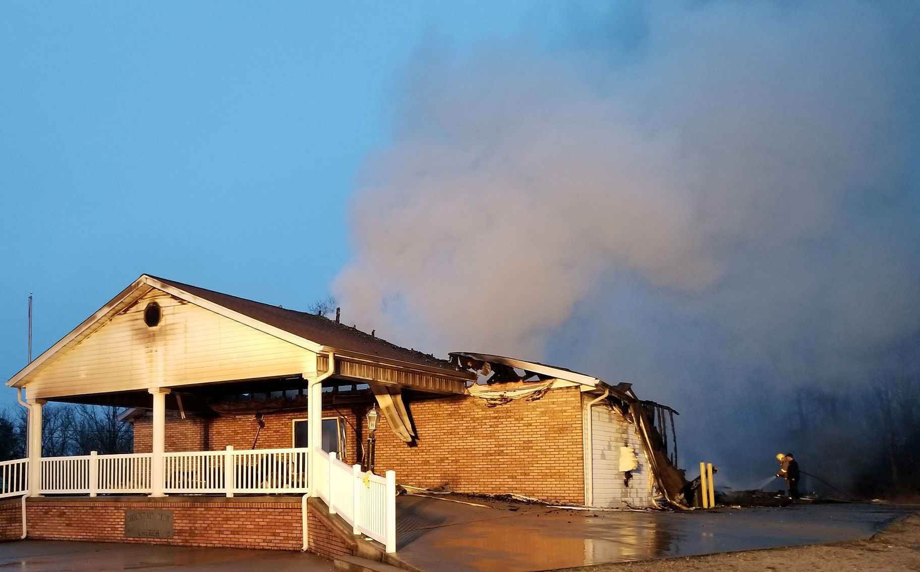 church fire Father son recovering after church