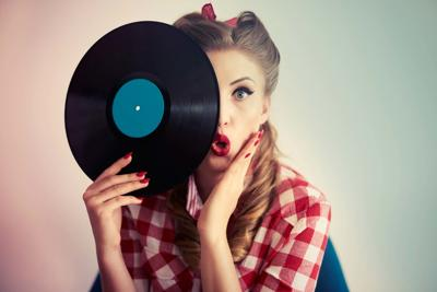girl with record