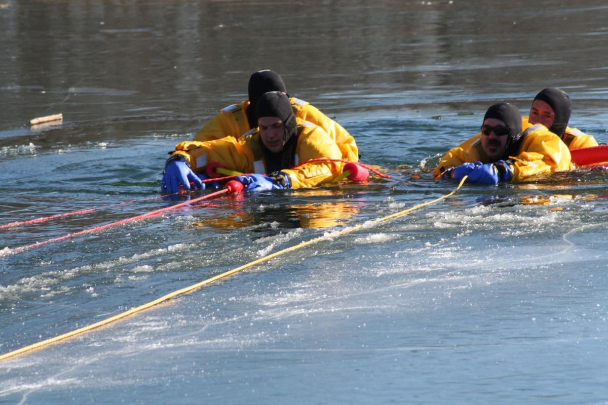 Firefighters brave icy training