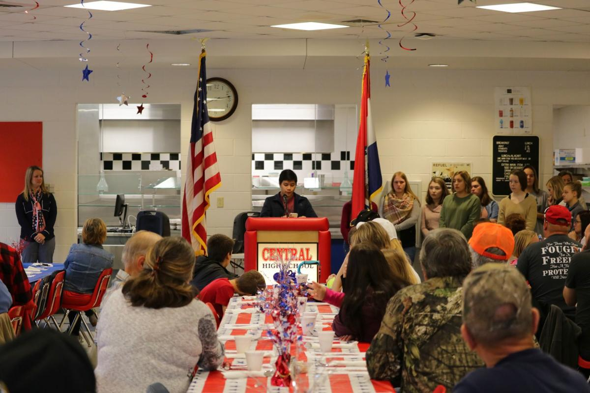 Central Hosts Veterans Breakfast  Daily Journal News  Central High School Student Gabriel Sungcad Reads From His Voice Of Democracy  Essay Focusing On The Importance Of Voting