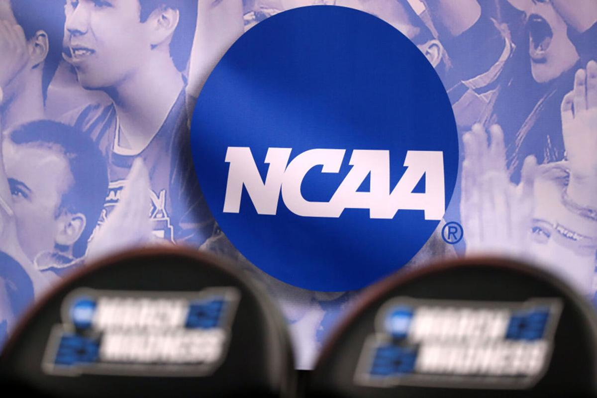 The NCAA logo is seen during a game between Northwestern and Vanderbilt during the first round of the NCAA Men's Basketball Tournament at Vivint Smart Home Arena in Salt Lake City, Utah, on March 16, 2017.