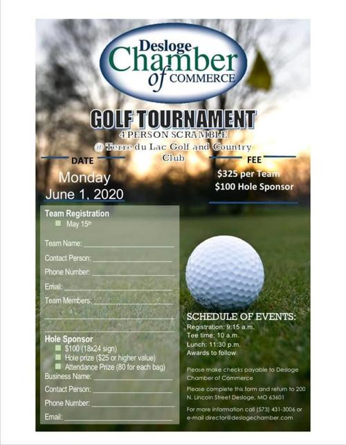 Desloge Chamber's golf tournament on June 1