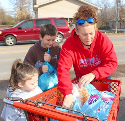 Scouts gather food for pantry