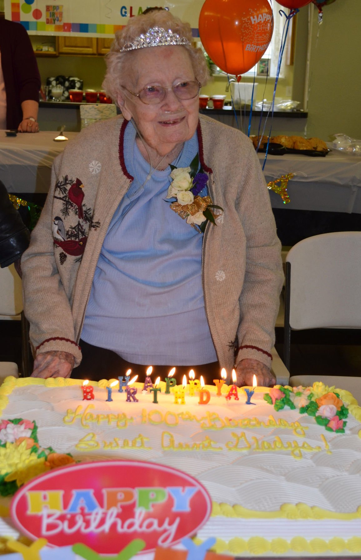 Gladys Pogue Of Fredericktown Prepares To Blow Out The Candles On Her Cake At 100th Birthday Party Sunday Follis Place