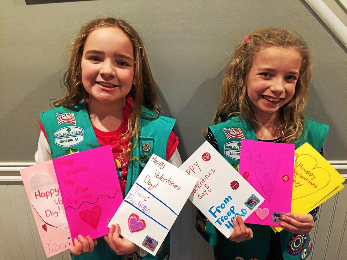 Girl Scouts craft Valentine's Day cards for Salvation Army meal program