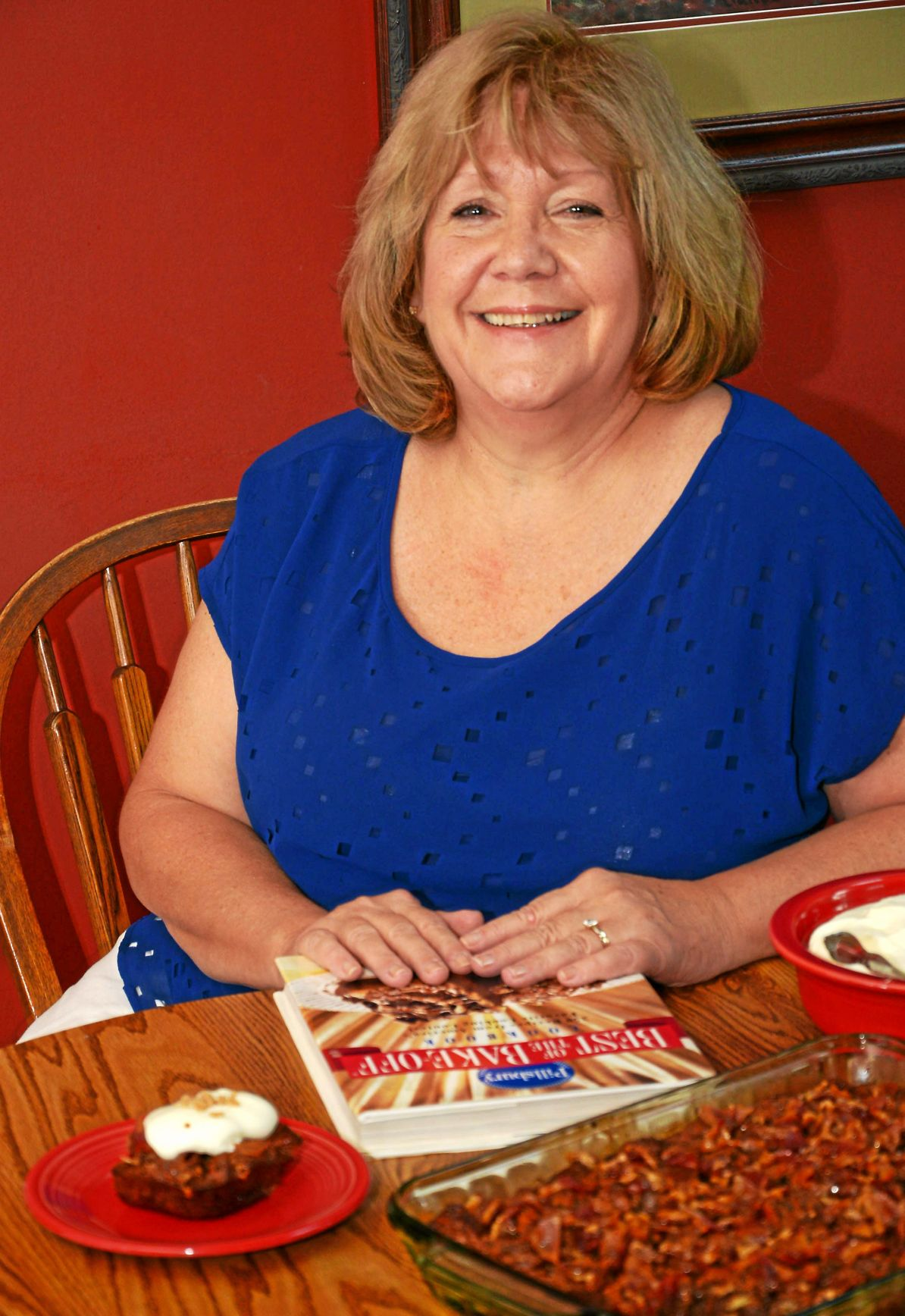 Upper Uwchlan woman Pillsbury finalist with Chocolate, Hazelnut-Toffee Bread Pudding with Candied Bacon