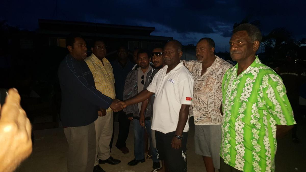 Iauko Group Interim President and Infrastructure Minister Tont Nari welcomes MP Namel back into the Iauko bloc