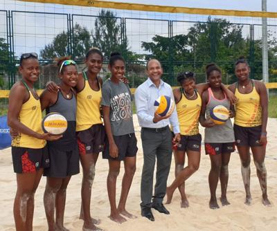Minister for Youth and Sports Francois Chani visits Vanuatu Beach Volleyball Women