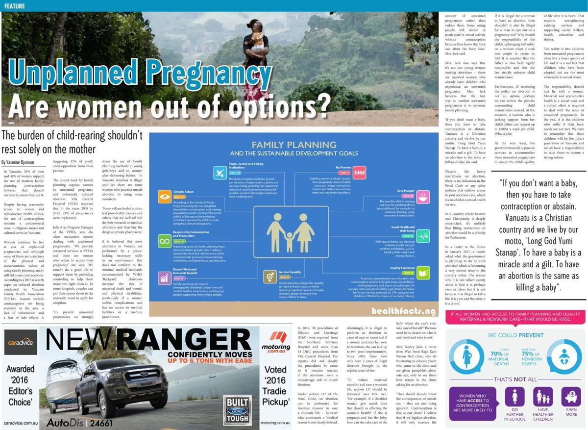 Unplanned Pregnancy centrefold feature
