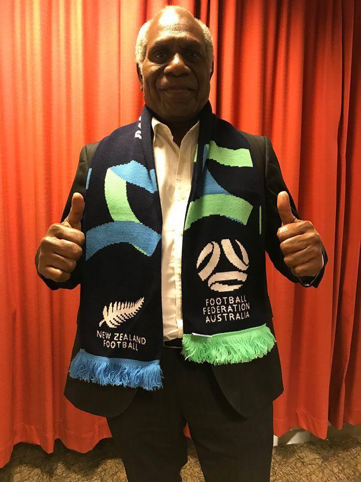 Vanuatu Football President celebrates with Australia and NZ for the winning bid to host Women's World Cup