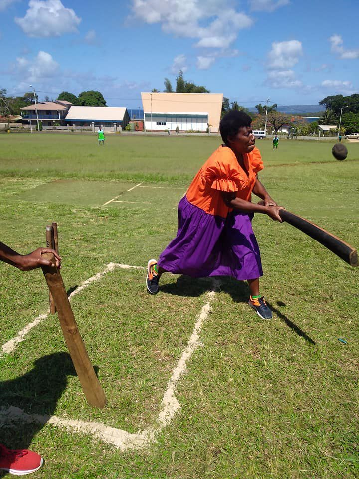 Mama's cricket in action. Photo: Vanuatu Island Women Cricket
