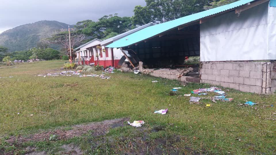Classroom tsunami damage