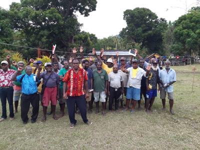 MP Saemon with all of his chairmen around malekula at RCC congress at Lawa village
