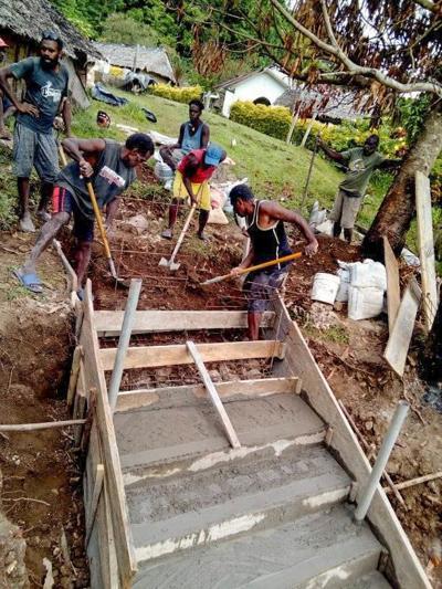 Lapo community builds walkway