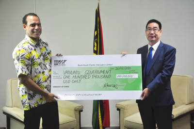 China donates US$100,000 to Vanuatu for COVID-19 Prevention and Control