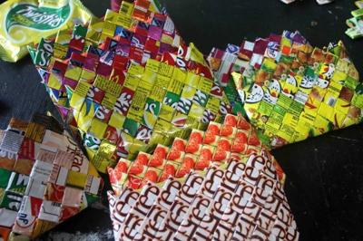 Colorful purses made out of wastes
