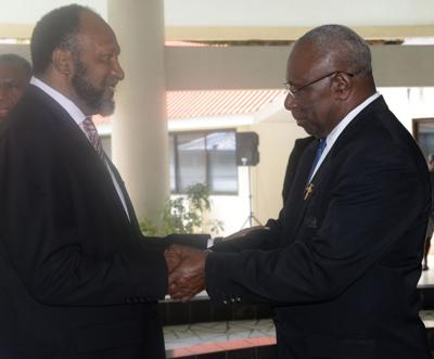Prime Minister Charlot Salwai congratulates President