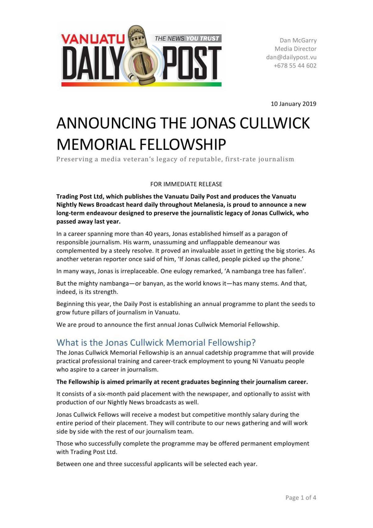 ANNOUNCING THE JONAS CULLWICK MEMORIAL FELLOWSHIP