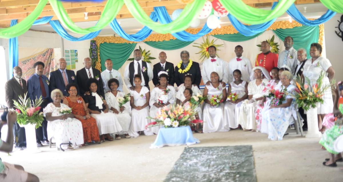 Married Couples Renewing Their Marriage Vows Joined By Some Widows And Widowers