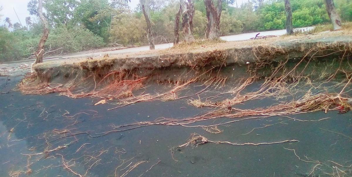 Increased coastal erosion following cyclones