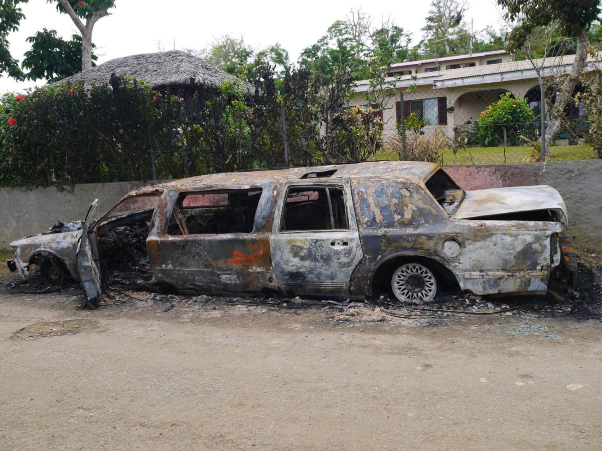 Stretched limo in flames