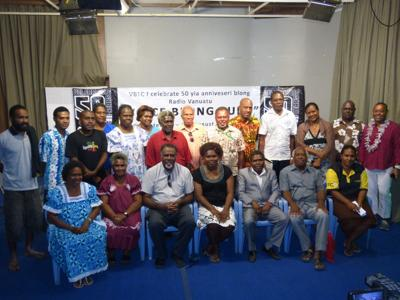 Some former surviving staff of Radio Vanuatu and current staff paused with Chairman of VBTC Board Jonethy Jerette and Organizing Committee Chair Lady Elizabeth Graham