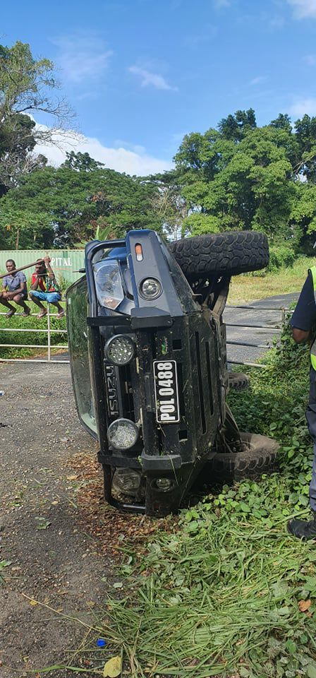 Police vehicle rolls over