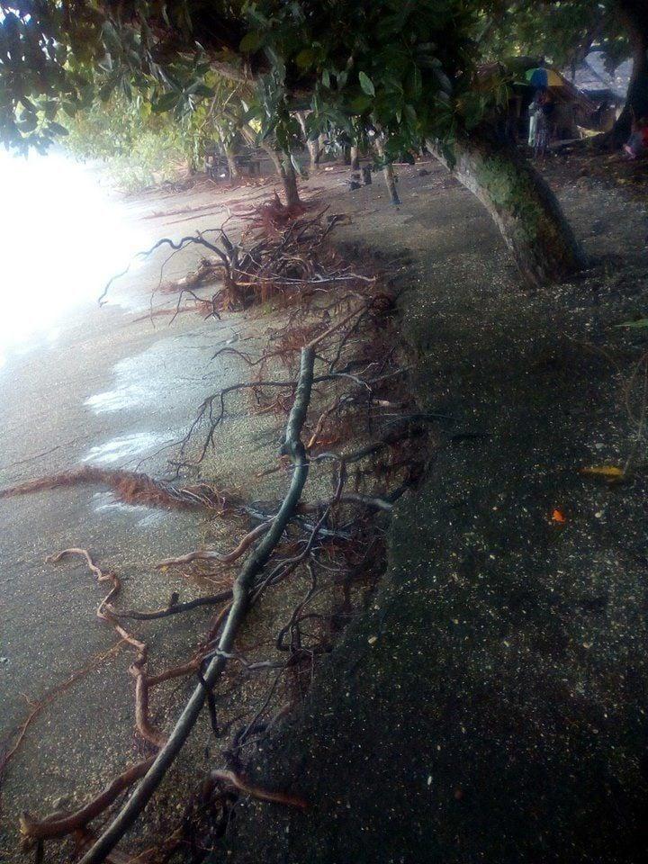 Increased coastal erosion due to cyclones
