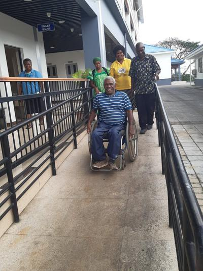 Disable impressed with PM's office building that is accessible for disability.