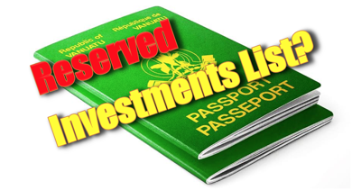 Passports, illegal passports, certain new citizens and our beloved 'Reserved Investments' List