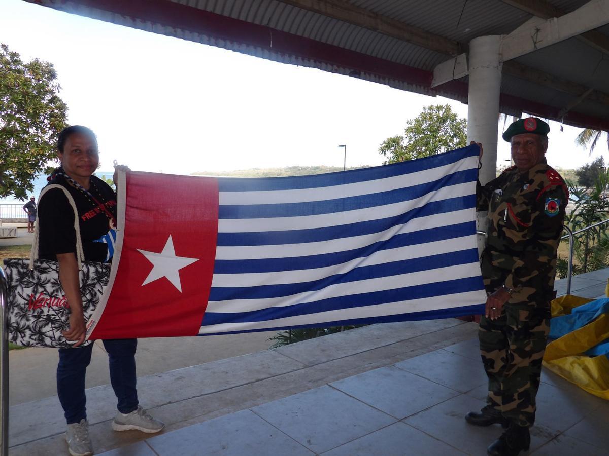 West Papua Flag on display