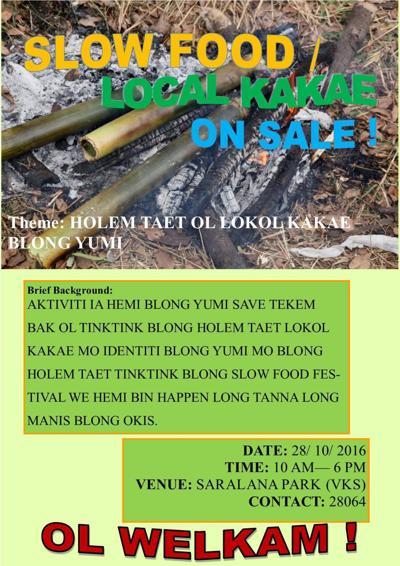 Slow Food show at Saralana Park Friday