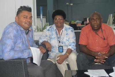 Navish Kumar, Communications Analyst (l) Virisila M Raitamata, Assistant Representative (c) and Gideon Mael, UNFPA Programme Officer Vanuatu