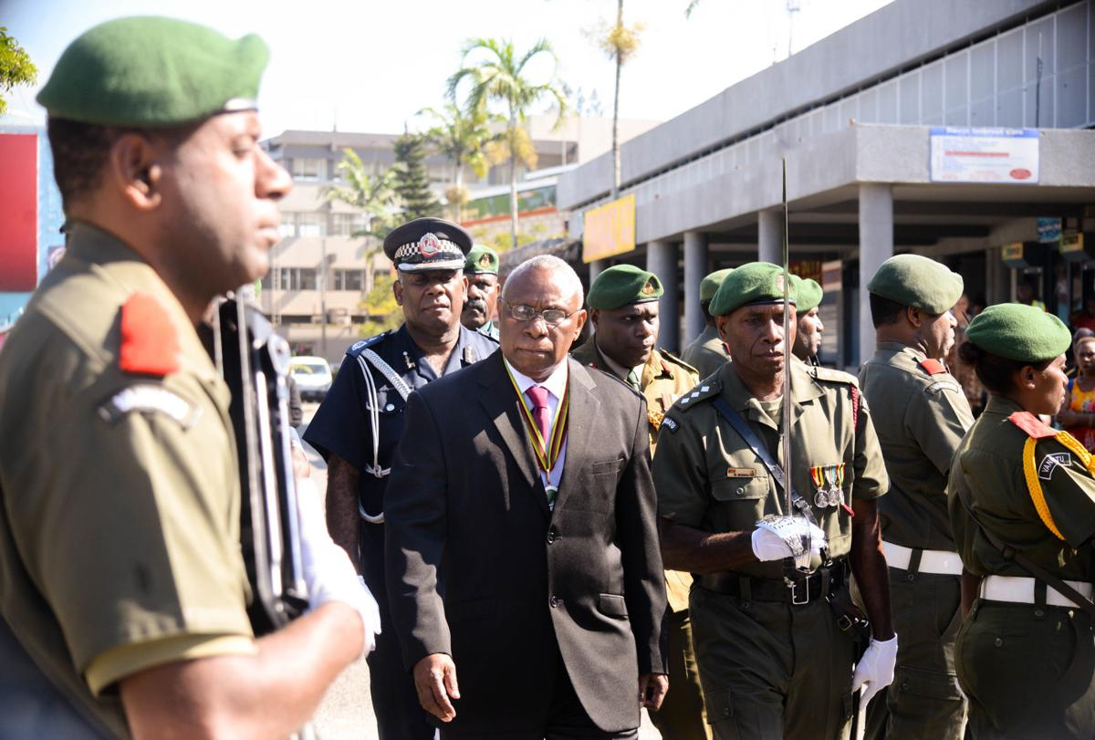 President inspecting officers