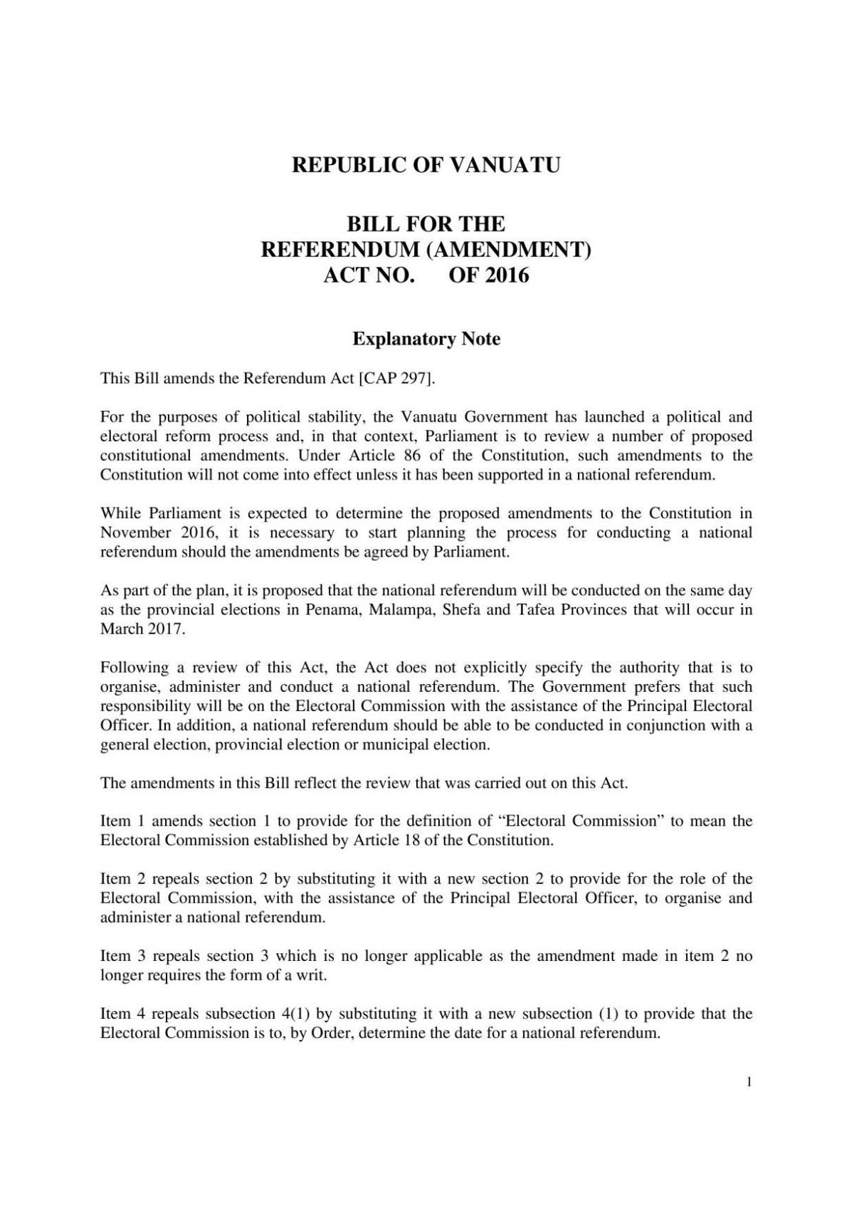 Bill for the Referendum (Am) Act No. of 2016.pdf