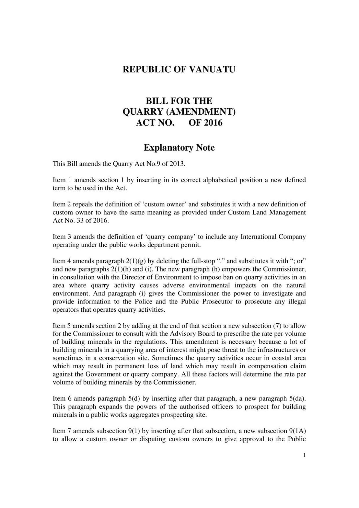 Bill for the Quarry (Am) Act No. of 2016.pdf