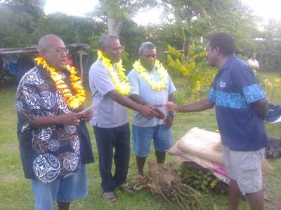 UMP Vice and Acting President Jacques Meriango, welcomes MP Jat Gwele, MP Pakoa Songi and MP Tom Noam into the UMP Nakamal