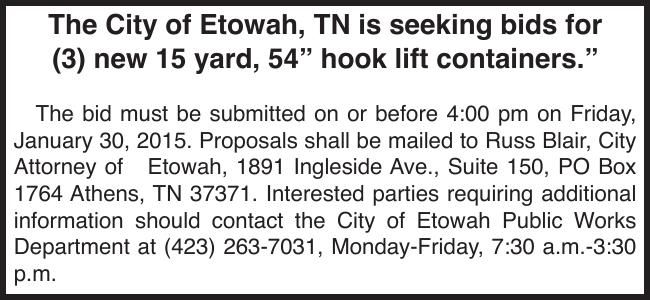 Bids for hook lift containers