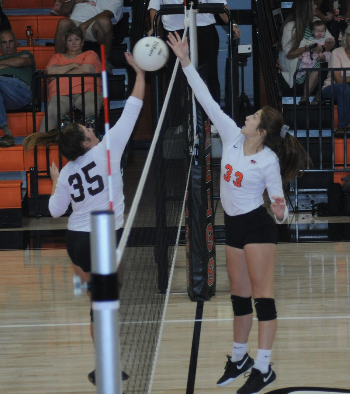 Meigs' Brianna Bales at the net