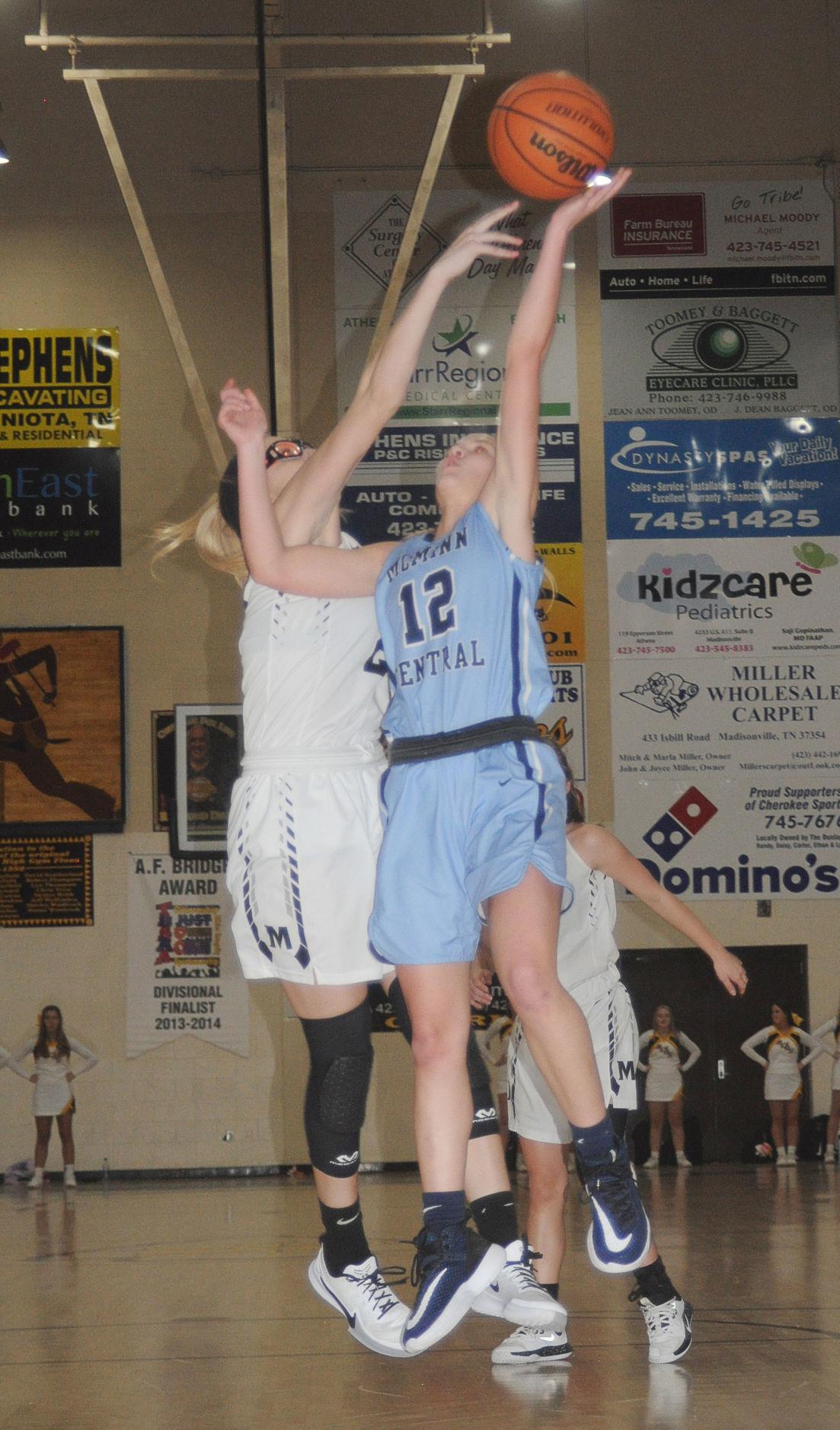 Central's Kellan Baker to the hoop