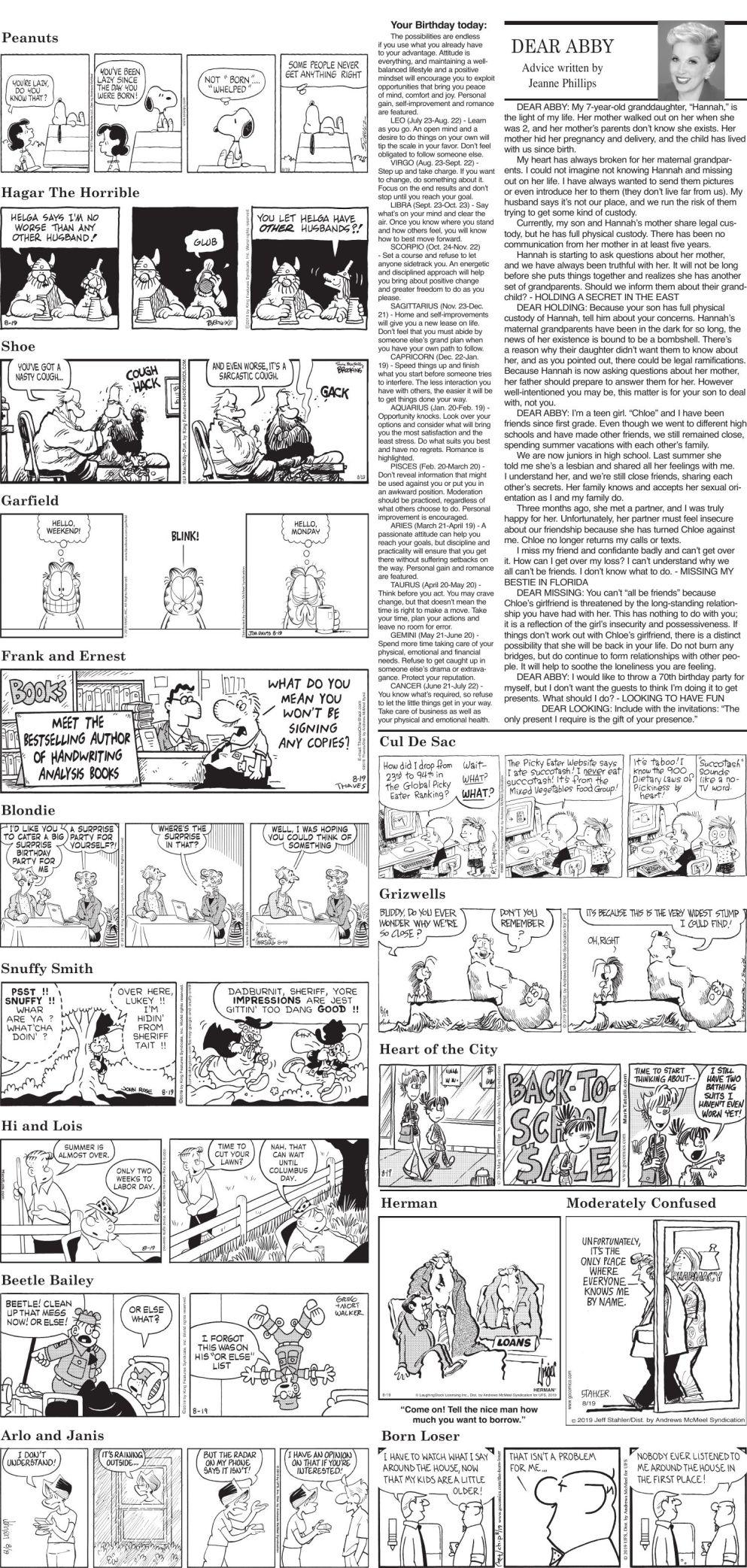 Monday, August 19 comics