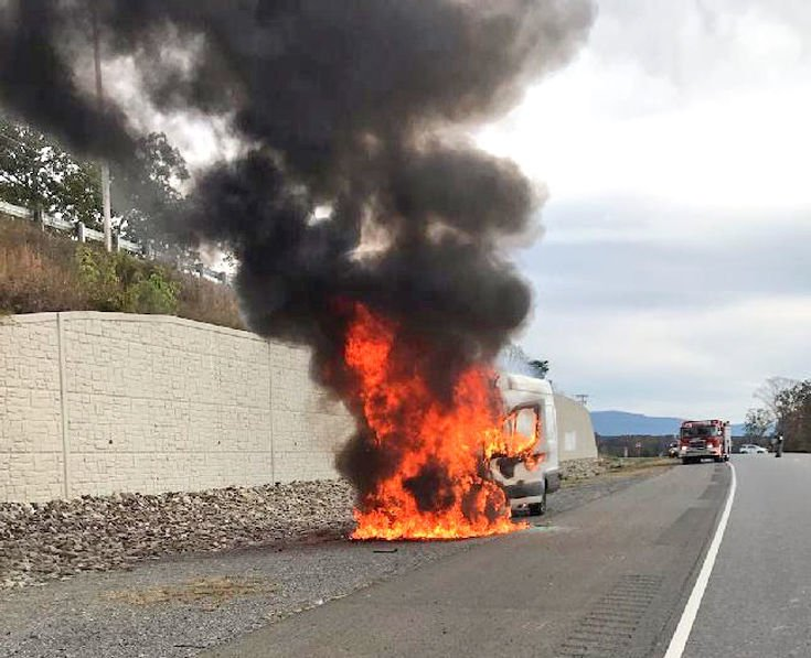 Vehicle fire on Highway 30
