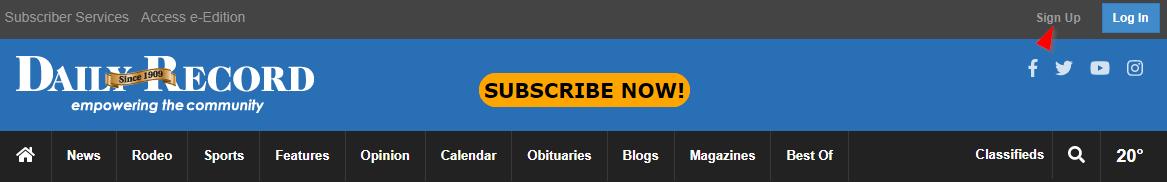 Site registration button.