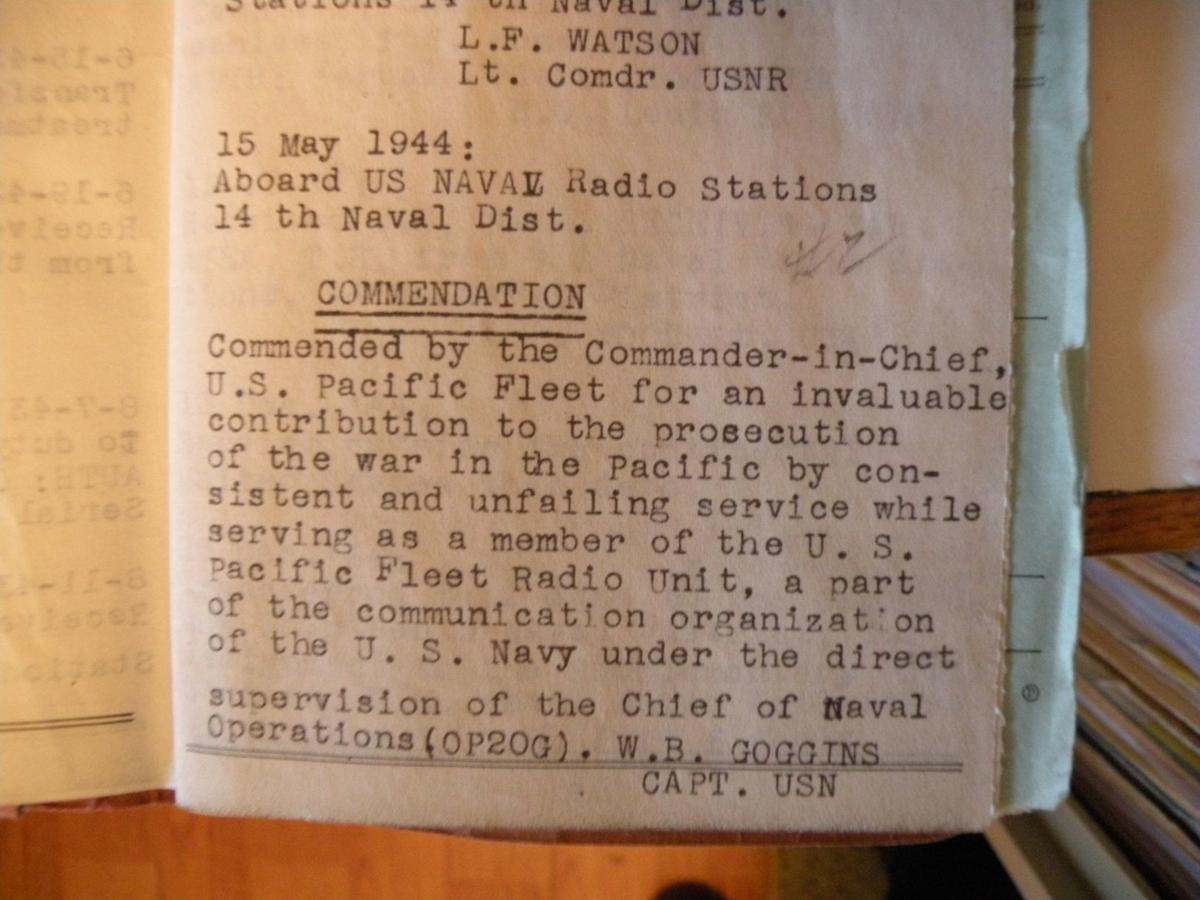 Stan Dudley commendation