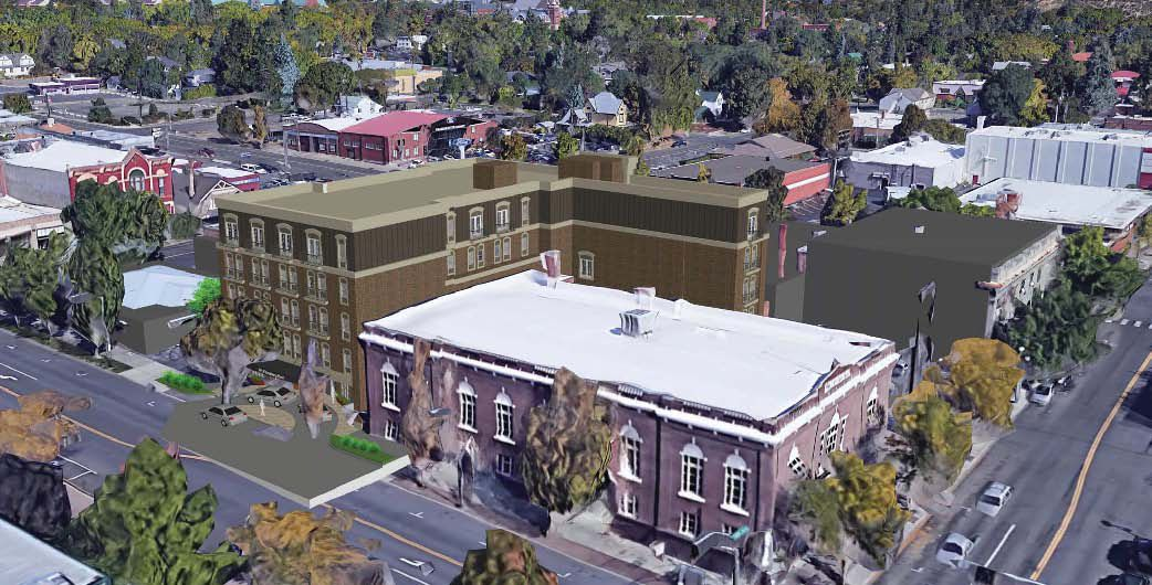 A Composition Image Shows New Downtown Ellensburg Hotel Wring Around The Elks Building