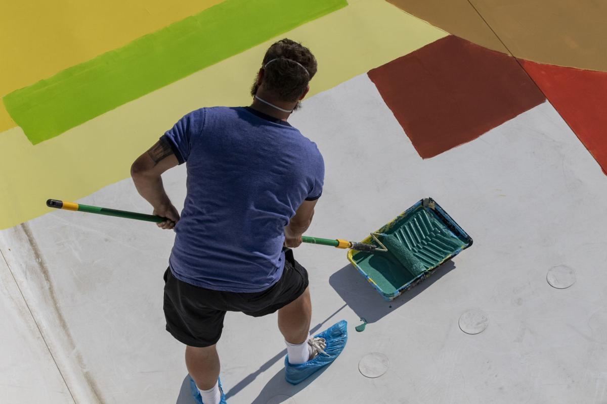 Painting The Elks Building Roof