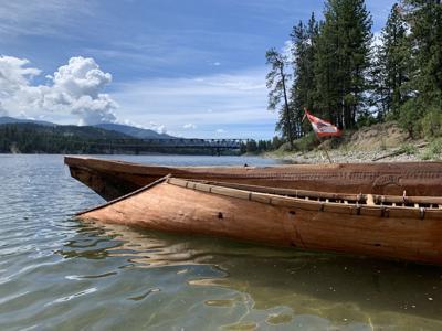 Snʕáyckst Bark Sturgeon Nose Canoe