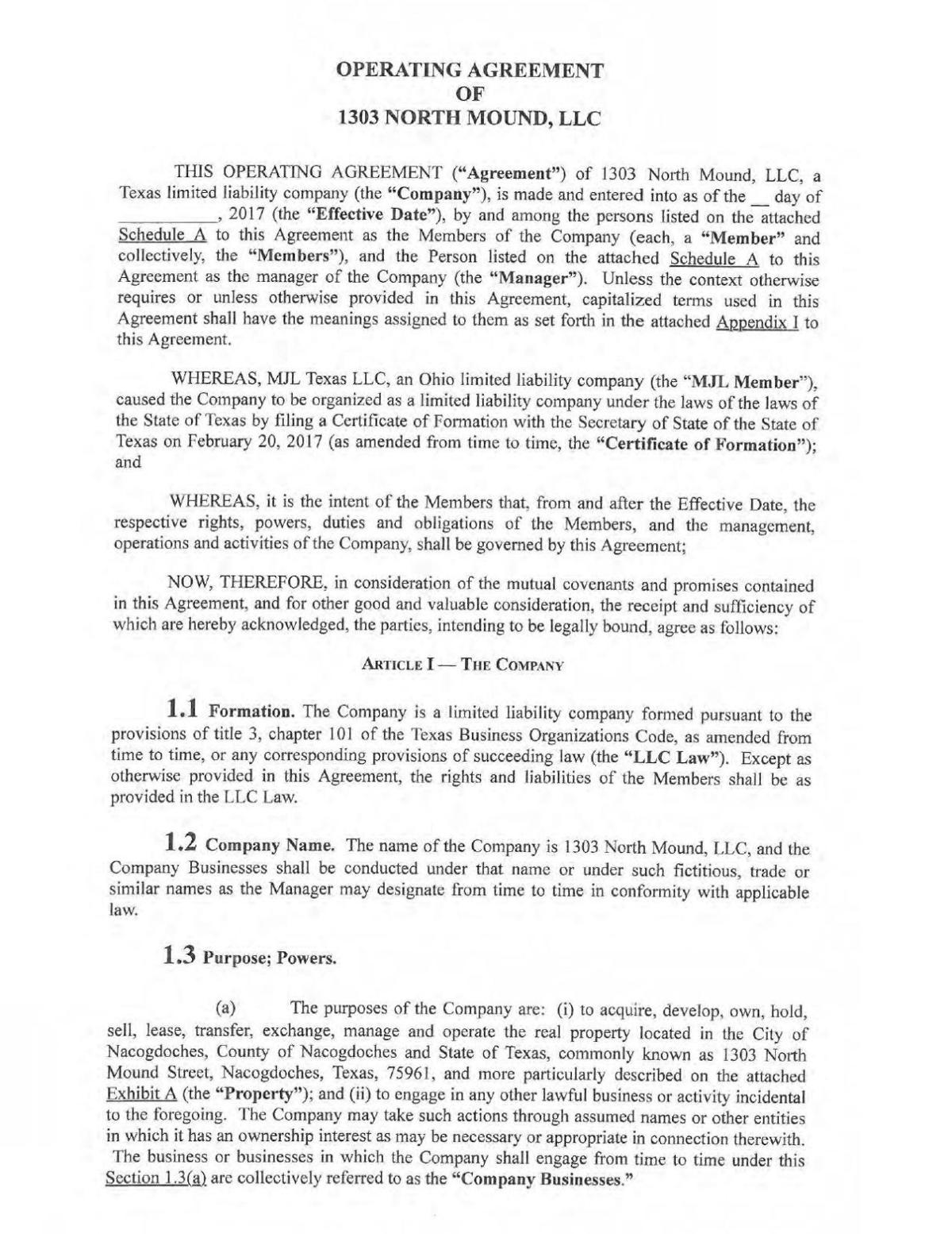1303 North Mound Llc Operating Agreement Fully Ex Pdf